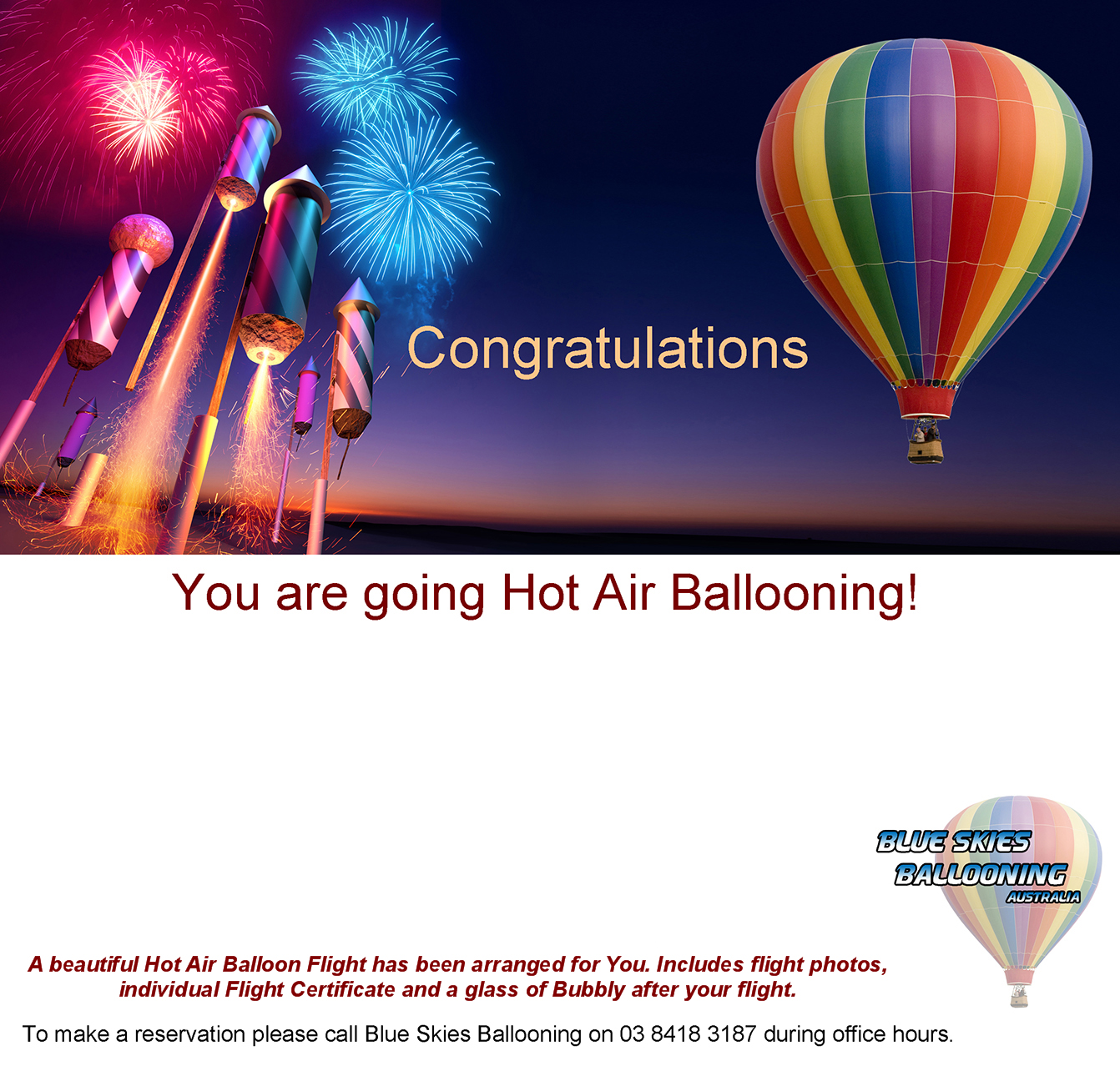 blue skies ballooning bookings balloon gift certificate